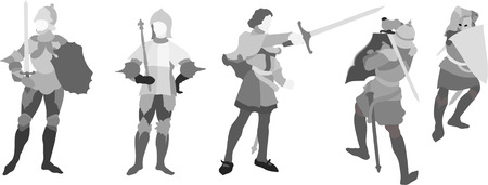 dueling: five Knights Illustration (Set Three)