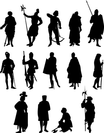 crowned: set of Fourteen Knight and Medieval Figure Silhouettes Illustration