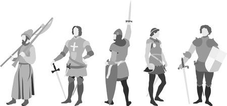 Vector set of 5 Knights