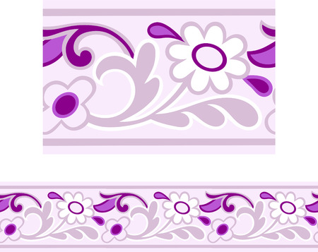 Vector of a Pink and Purple Girly repeating Daisy border  Illustration