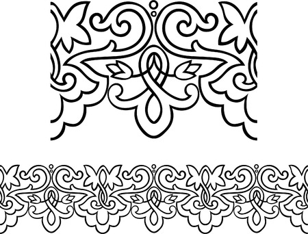 Vector – Stylized repeatable Victorian style outlined border Stock Vector - 7806373