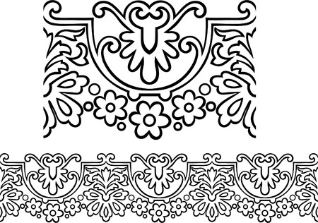 Vector of a stylized Victorian style repeating border outline with flowers Stock Vector - 7806375