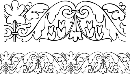 Vector – Stylized repeatable Victorian style outlined border Stock Vector - 7806374