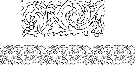 Vector of a stylized Victorian style repeating outline pattern with fruit Stock Vector - 7806376