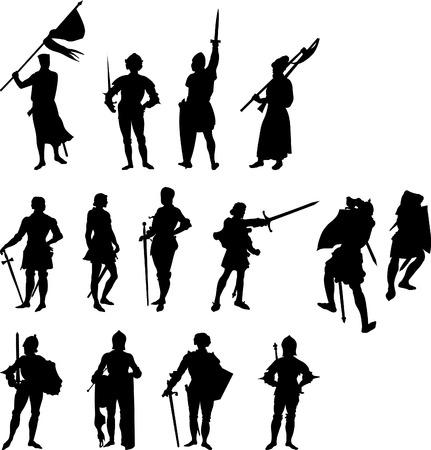 chevalerie: Quatorze Knight et figure m�di�val silhouettes - set 2  Illustration