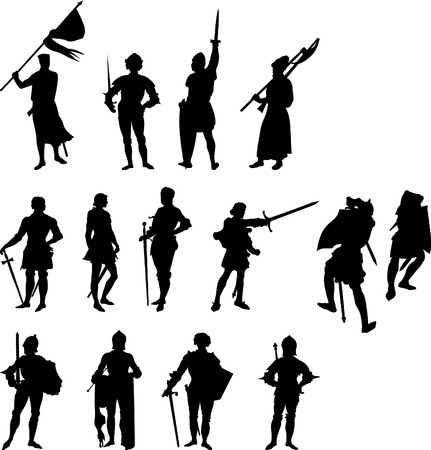armbrust: Vierzehn Knight und mittelalterlichen Abbildung Silhouetten - legen Sie zwei Illustration