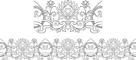 Stylized Victorian style repeating border outline with ribbon and floral elements Stock Vector - 7929755
