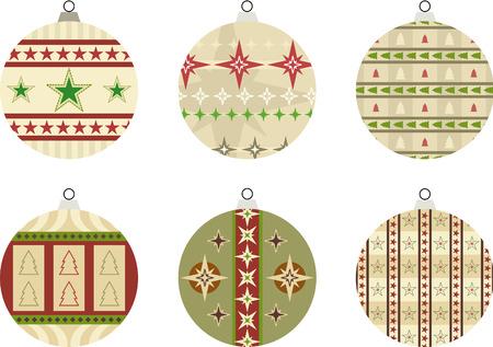 Conjunto de 6 objetos ilustraci�n con la estrella y dise�os de �rboles de Navidad ? tambi�n adecuados para usarse como etiquetas de regalo estacionales  Foto de archivo - 7929752