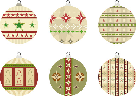Set of 6 baubles Illustration with star and Christmas tree designs – also suitable for use as seasonal gift tags Illustration
