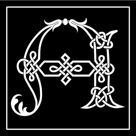 ornamented: A Celtic knot-work capital letter A.