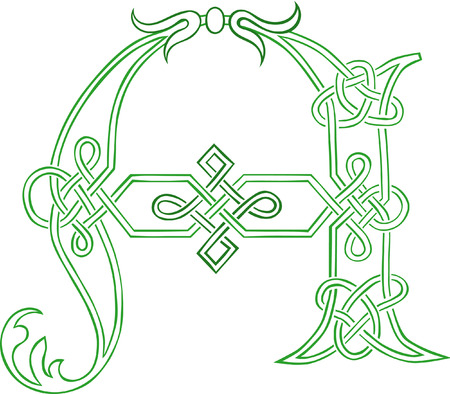 A Celtic Knot-work Capital Letter A Stylized Outline Vector