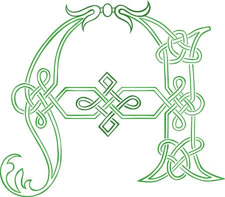 capitel: Un esquema estilizados de celta Knot-trabajo mayúscula A  Vectores