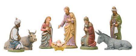 Full set of Nativity figurines, Isolated.