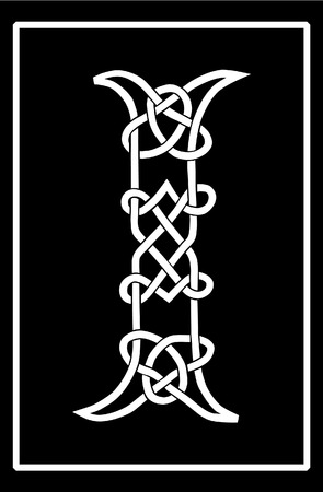 A Celtic knot-work capital letter I