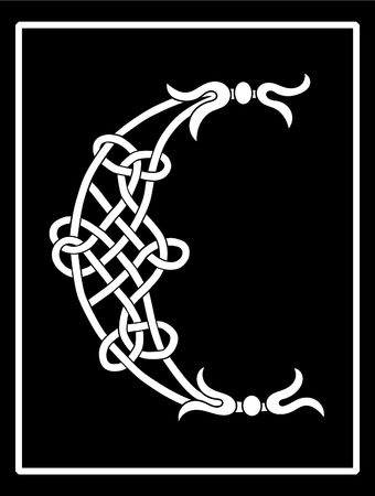 A Celtic knot-work capital letter C Vector