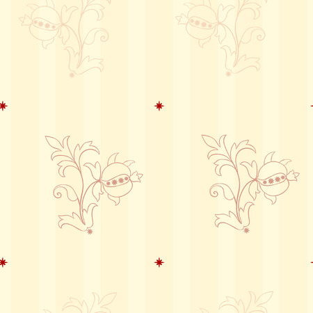 Seamless Victorian Style wallpaper background with stripes and plant Stock Vector - 8202954