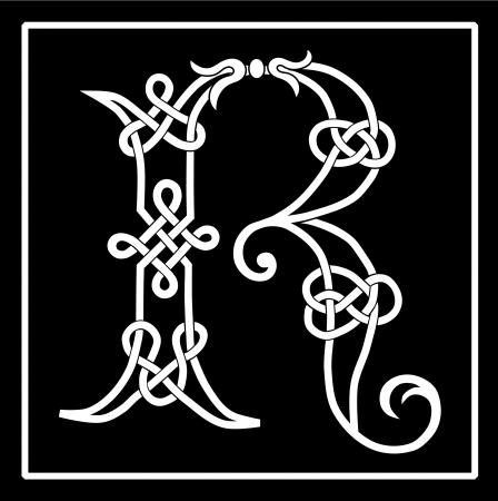 lettre de l alphabet: Celtic Knot-travail capital lettre R Illustration