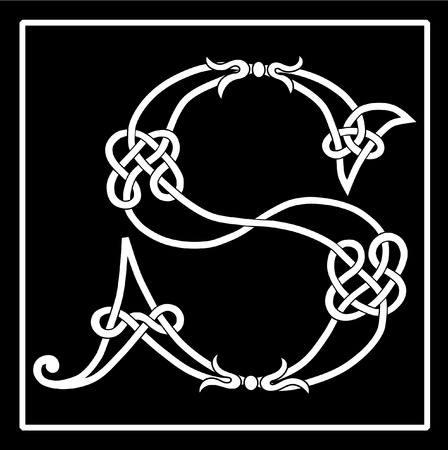 Celtic knot-work capital letter S Illustration