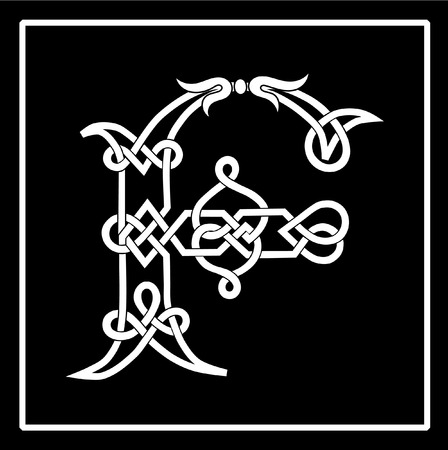 Celtic Knot-work Capital Letter F Vector