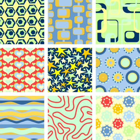 Set of 9 seamless backgrounds  Illustration