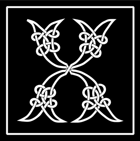 knotwork: Vector of a Celtic Knot-work Capital Letter X
