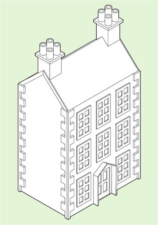 Isometric Drawing of a three story Dolls House.  Vector