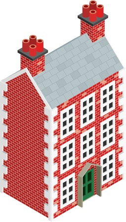 slate roof: Isometric Drawing of a three story Dolls House