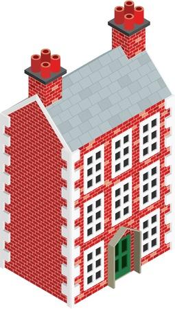 tile roof: Isometrico disegno di tre storia Dolls House