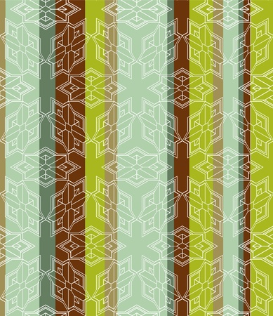 Seamless striped Background tile with 3d geometric outlined pattern.  Vector