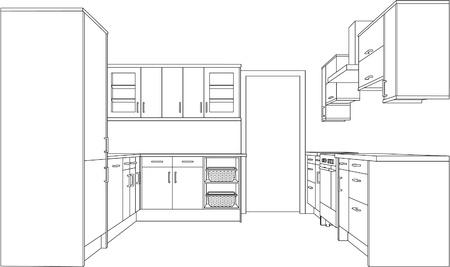 perspectiva lineal: Un dibujo de l�nea �nica de punto de perspectiva 3d de una cocina. Versi�n.