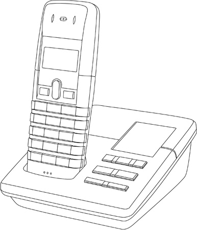 answering phone: Line drawing of a wireless telephoneanswer machine in its cradle Illustration