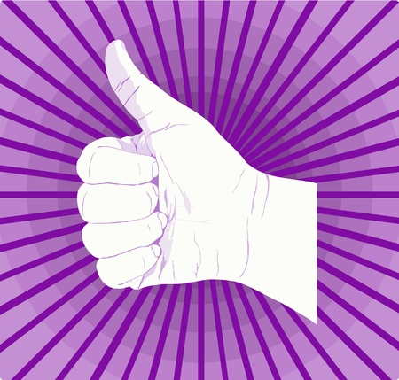 Good Job thumbs up hand with purple background.