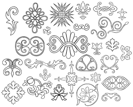 motif floral: Set of 27 stylized outlined motifs and flourishes for your project