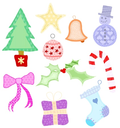 Set of 10 Christmas shapes designed to look as though made from fabric and appliquéd. Stock Vector - 9599113