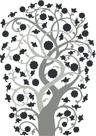 Una silueta de un árbol de estilo vintage dibujados de mano.