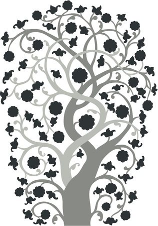 A silhouette of a hand drawn vintage style tree. Stock Vector - 9930666