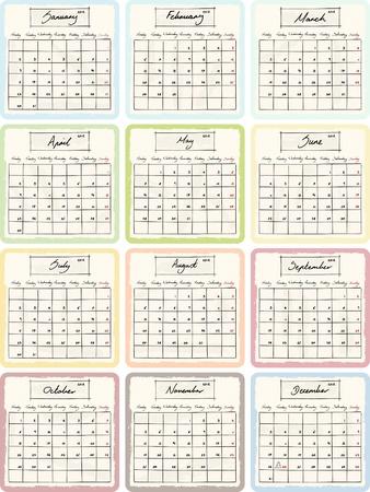 Handwritten 2012 Calendar with grunge Elements.  Vector