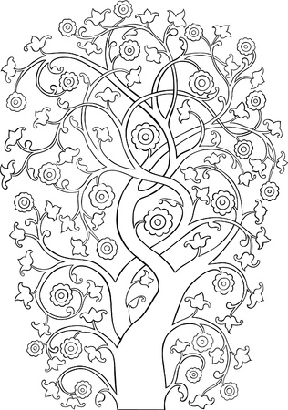 A stylized outline silhouette of a hand drawn vintage style tree.