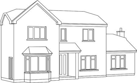 modern huis: Een 3d Twee punt perspectief Line Tekening van een twee verdiepingen vrijstaand huis Stock Illustratie