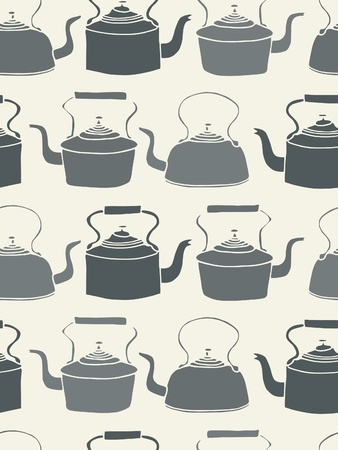 tea kettle: Seamless Tile background with vintage style teapots