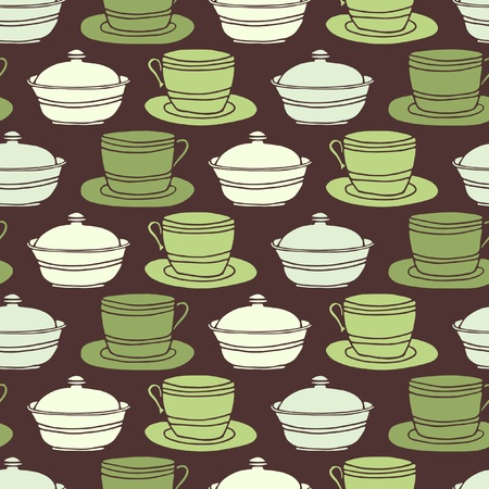 sugarbowl: Seamless background tile with vintage style teacups, saucers and sugar bowl. Illustration