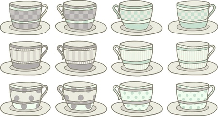 teacup: Set of 6 pairs of doodle patterned teacups.