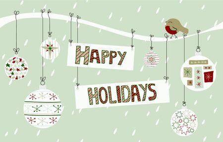 happy holidays: Een leuke vakantie teken gebonden aan een tak met sneeuw, een roodborstje en snuisterijen. Stock Illustratie