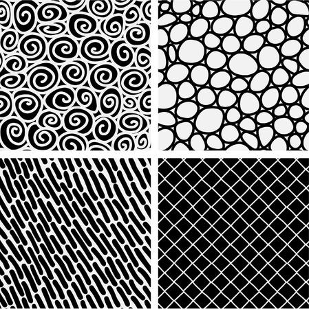 monocrom�tico: Set of 4 seamless textured pattern swatch tiles.