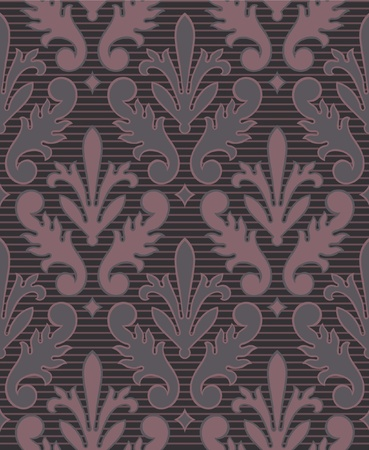 Dark Purple Seamless Victorian Style Wallpaper Background with stripe Vector