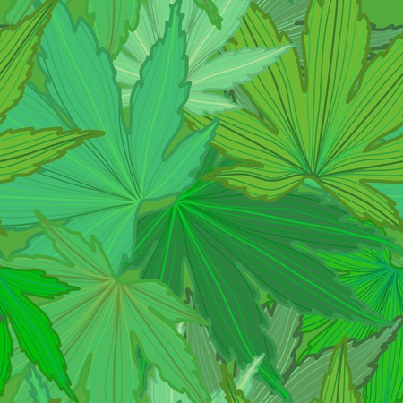 Green Leaf Seamless Background  Vector