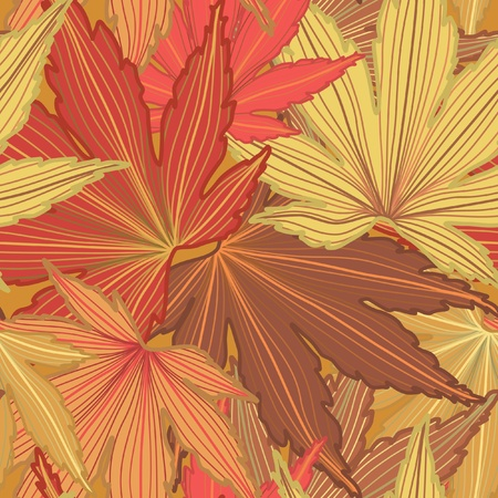 tiles floor: Autumn Leaf Seamless Background Illustration