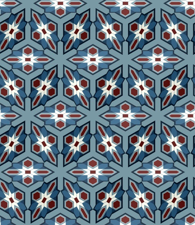 repeated:  Seamless Background tile with 3d geometric pattern in Red, White and Blue British color scheme  Illustration