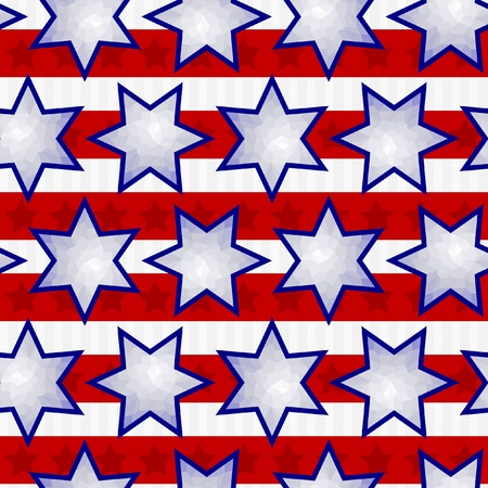 faced: Seamless Fourth of July Faceted Star Background Tile Illustration