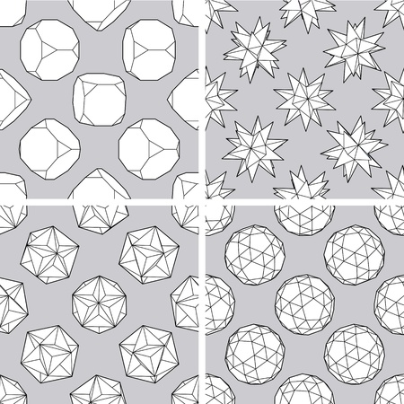 polyhedron: Set of four seamless 3d polygon backgrounds Illustration